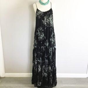 Free People Maxi Dress Floral Size L Ruffle Black